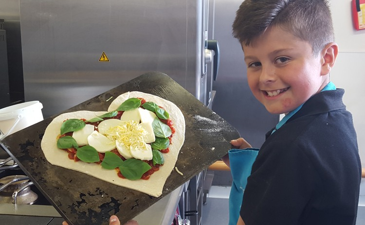 Sam and his heart pizza